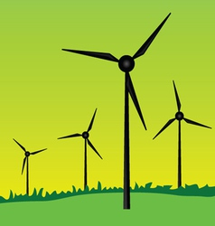 Windmills on green grass vector
