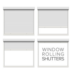 Window roller shutters opened and closed vector