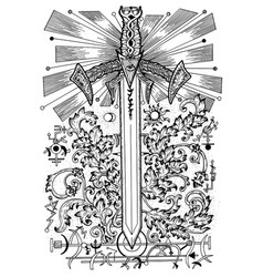 With sword and mysterious symbols vector