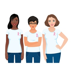 Women activist awareness of breast cancer vector