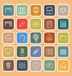Workspace line flat icons on orange background vector