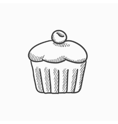 Cupcake with cherry sketch icon vector