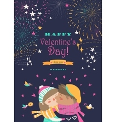 Card with kissing couple and firework vector image