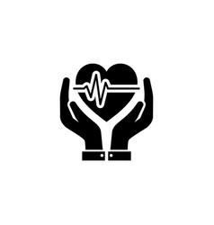 heart care icon flat design vector image