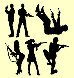 Gun weapon people shooting silhouette vector