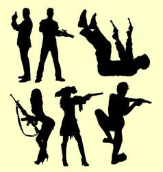 gun weapon people shooting silhouette vector image