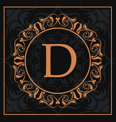 Florishes gold letter d calligraphic heraldic dark vector