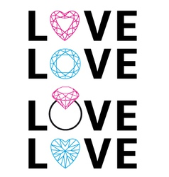 diamond love word art vector image