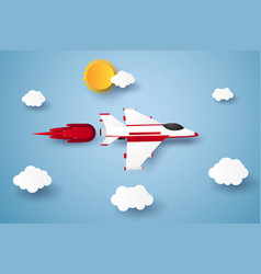 Airplane flying in the sky paper art style vector