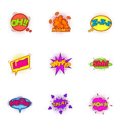trendy pop art label icons set cartoon style vector image