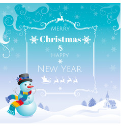 Merry christmas and happy new year flayer frame vector