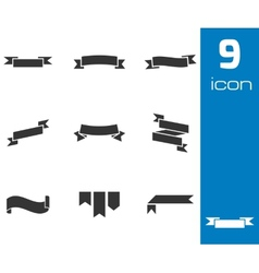 black ribbon icons set vector image