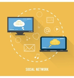 Social network concept in flat design vector