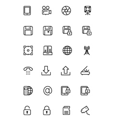 Media line icons 4 vector