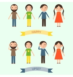 Set of characters with happy and upset emotions vector