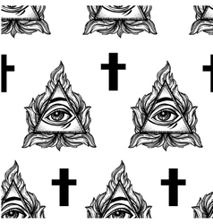 All seeing eye seamless pattern vector