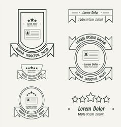 Card label and ribbon line style vector