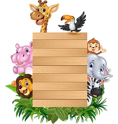 Cartoon animal africa with wooden sign vector