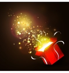 Open gift box with bright rays of light vector