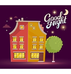 Night building with street lamp on dark p vector