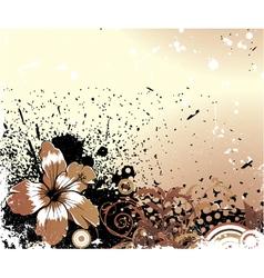 Grunge background with flower vector