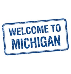 Welcome to michigan blue grunge square stamp vector