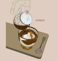 affogato coffee hand drawn sketch line art vector image vector image