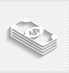 Bank note dollar sign white icon with vector