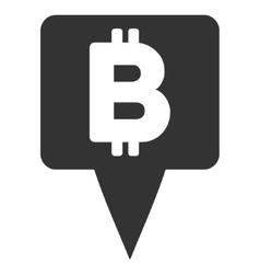 Bitcoin map pointer flat icon vector