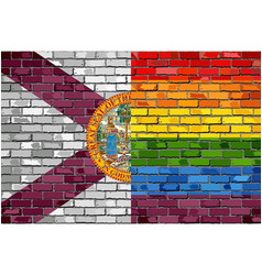Brick wall florida and gay flags vector