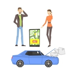 Broken car couple calling for help and smartphone vector