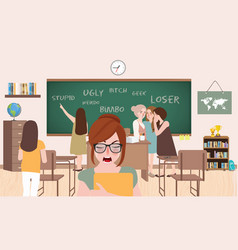 Bullying in class room school between friends vector