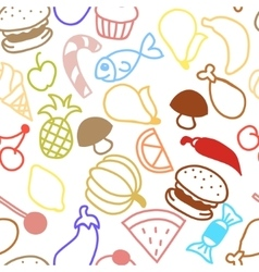 Cute fruit outline seamless texture vector image