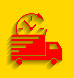 Delivery sign red icon with vector