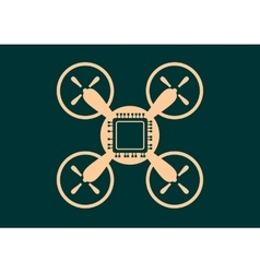 Drone quadrocopter icon computer chip symbol vector