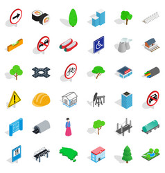 Factory icons set isometric style vector