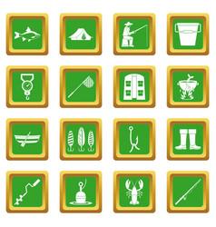 Fishing tools icons set green vector