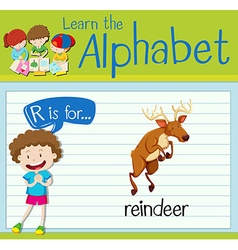 Flashcard letter R is for reindeer vector image