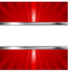 Glow red beams and metallic banner vector