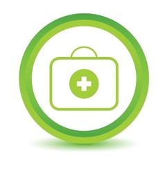 Green doctor bag icon vector