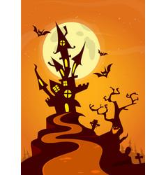 Halloween haunted house cartoon vector