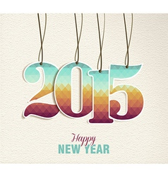 Happy new year 2015 hang tag vintage card vector