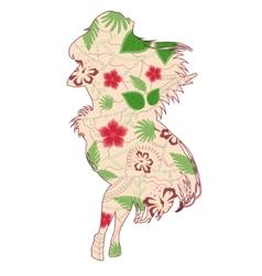 Hawaiian girl vintage vector image vector image