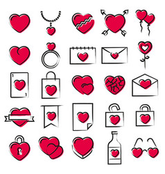 hearts icons hand drawn style vector image