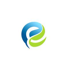 letter e green leaf logo vector image