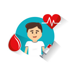 man donating blood icon vector image vector image
