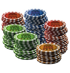Poker chip many isolated white background vector