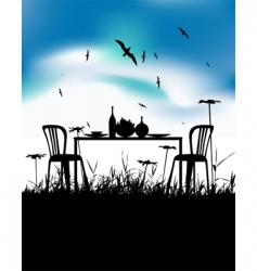 romantic dinner vector image vector image