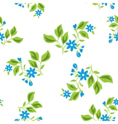 seamless floral texture with blue flowers on white vector image vector image