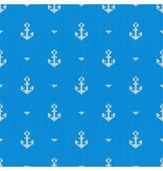 Seamless knitted pattern with anchors vector image